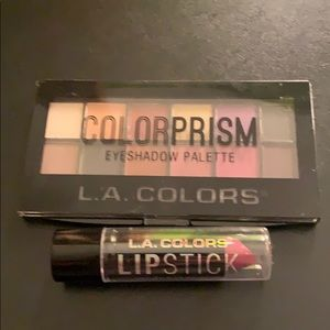 LA Colors eyeshadow palette and lipstick